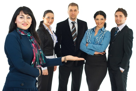 Smiling business woman presenting her team  or invite you to join their business isolated on white background