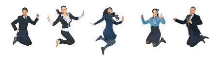 victorious: Line of five successful business people jumping  isolated  on white background