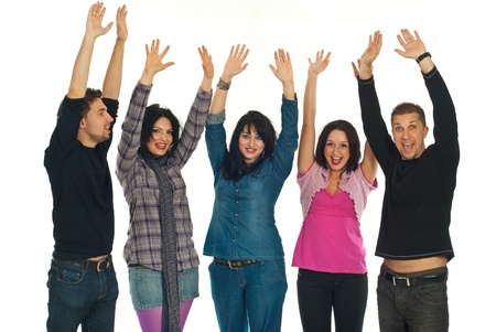 raising hands: Happy five modern friends raising hands and cheering isolated on white background