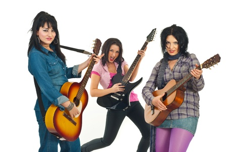 Rock guitarist band women playing guitars isolated on white background Stock Photo - 8692114