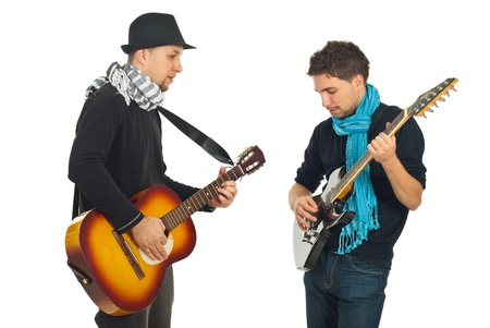 Musical band of two men playing acoustic and electronic guitars isolated on white background