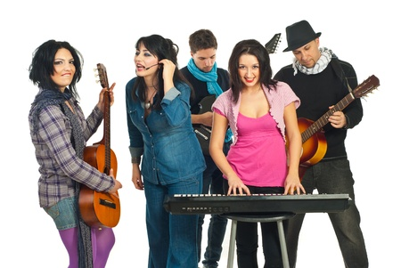 Musicians band playing musical instruments and singing with voice isolated on white background photo