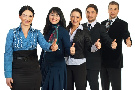 Successful team of five business people standing in a row and giving thumbs up isolated on white background Stock Photo - 8808967