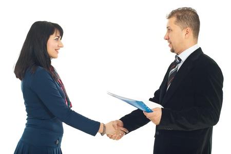 Handshake business people isolated on white background photo
