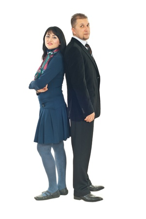 Full length of two business people couple standing back to back isolated on white background