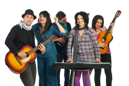Energy band of five musicians singing at musical instrumentsisolated on white background Stock Photo - 8805548