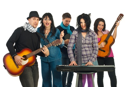 Band of five musicians singing and playing instruments isolated on white background Stock Photo - 8805547