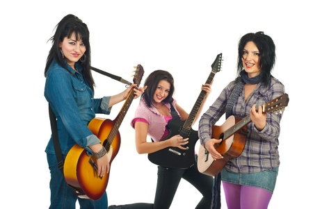 Attractive three women playing guitars isolated on white background Stock Photo - 8805518