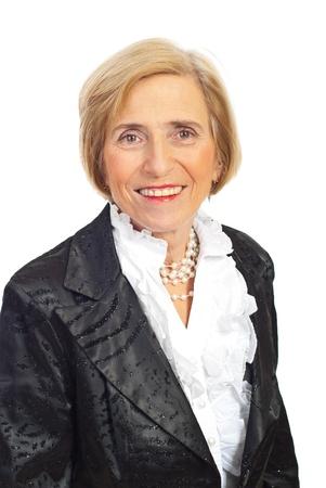 Portrait of elegant senior woman in satin jacket  isolated on white background photo