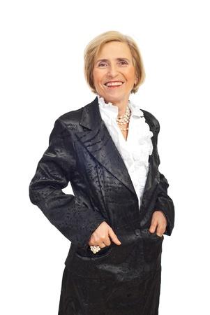 Happy elegant senior woman in satin suit isolated on white background photo