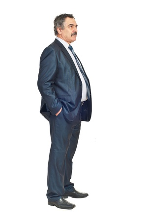 Full length of business man looking away and thinking at perspectives isolated on white background Stock Photo - 8816149