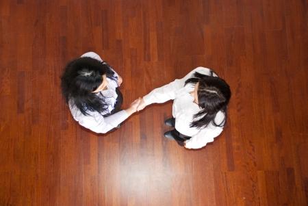Top view of business women handshake,selective focus on hands Stock Photo - 8902713
