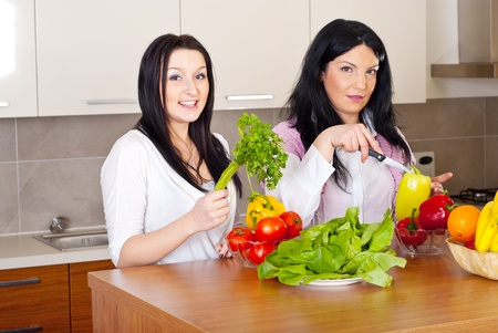 Two beauty women prepare the dinner with fresh vegetables in kitchen photo