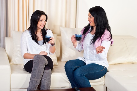 Two beautiful women having conversation  drinking coffee and sitting on couch home Stock Photo - 8902765
