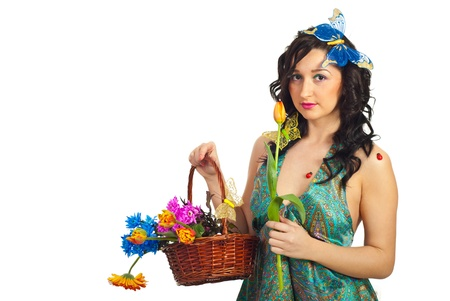 Portrait of spring girl holding flowers  isolated on white background,copy space for text message in left part of image photo