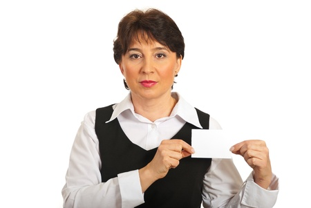 Business mature woman showing blank card isolated on white background photo