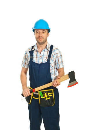 Mid adult workman in jumpsuit holding axe isolated on white background photo