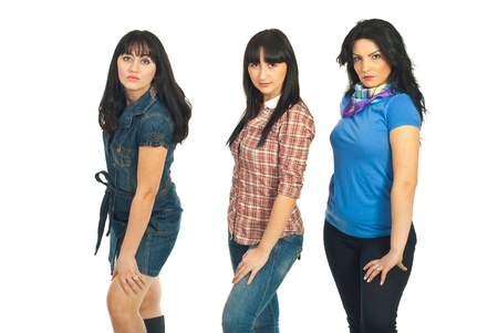 hand wear: Three models women in casual clothes posing in a row isolated on white bnackground