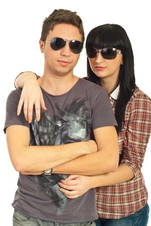 sunglasses isolated: Young models couple wearing sunglasses isolated on white background Stock Photo
