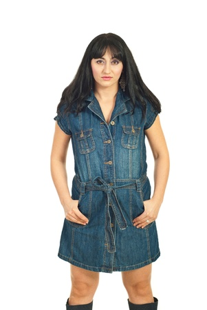 Beauty woman in denim dress isolated on white background photo
