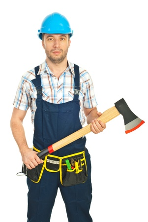 Serious constructor worker holding ax isolated on white background photo