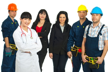 Doctor woman standing with hands crossed in front of workers with different careers isolated on white background