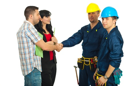 Agreement between couple and constructor workers team for renovating a house   photo