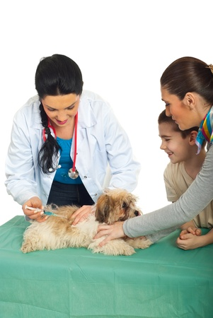 immunize: Family with puppy at vet  preparing for vaccination isolated on white background Stock Photo