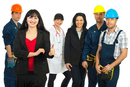 company job: Successful business woman giving thumbs and standing in front of five people with different careers over white background