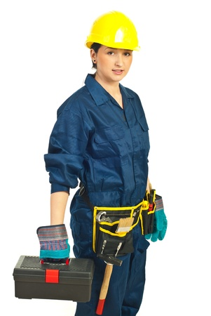 hard working woman: Constructor worker female holding container isolated on white background Stock Photo