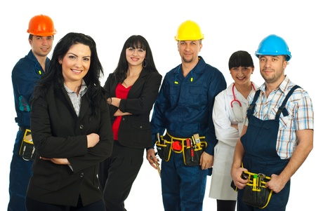 Business woman in front of group of people with different careers against white background photo