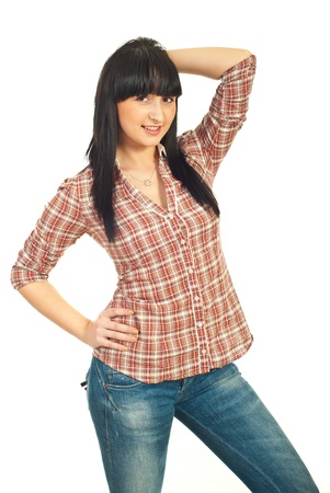 Fashionable casual young woman with bangs isolated on white background photo