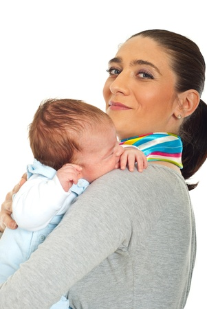 Smiling mother holding her newborn baby boy isolate don white background Stock Photo - 9166655