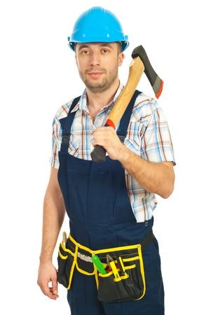 Mid adult worker man holding hatchet isolated on white background photo