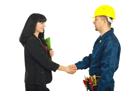 Business woman giving handshake with constructor worker isolated on white background Stock Photo - 9206139