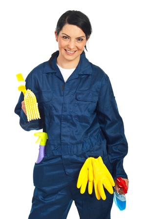 Cheerful worker woman  prepared for cleaning your house isolated on white background photo