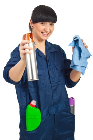 Cheerful cleaning worker woman ready for work isolated on white background photo