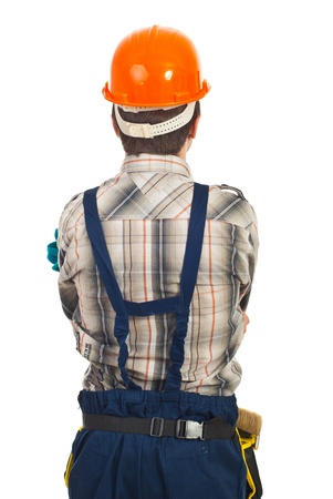 hard look: Back of workman with orange helmet  isolated on white background