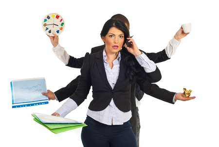 stressed businessman: Busy business people holding different objects and a shocked businesswoman talking by phone mobile in front of them isolated on white background