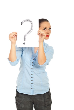 Confused woman holding paper with handwritten question mark isolated on white background photo