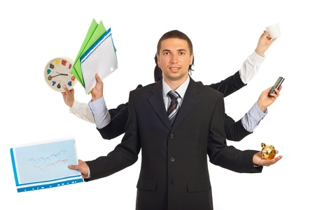 Business people hands holding business objects with a business man in front of camera isolated on white background photo