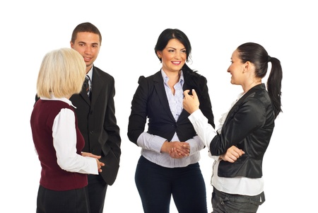 Group of business people having conversations over white background photo