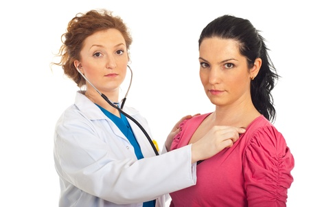 Serious doctor woman checkup heart beat patient woman and both looking at camera isolated on white background Stock Photo - 9517227