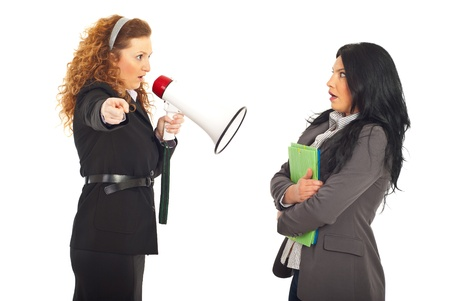 accuser: Furious manager woman shouting into megaphone to scared employee woman with folders isolated on white background