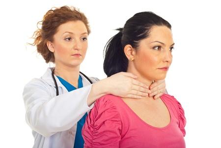 examine: Endocrinologist examine thyroid woman (Maneuver Hazard) isolated on white background