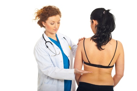 urinary system: Doctor examine patient woman and applying maneuver Giordano-Pasternatzki( percussion lumbar bilateral )