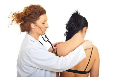 Physician woman examine patient woman breath isolated on white background photo