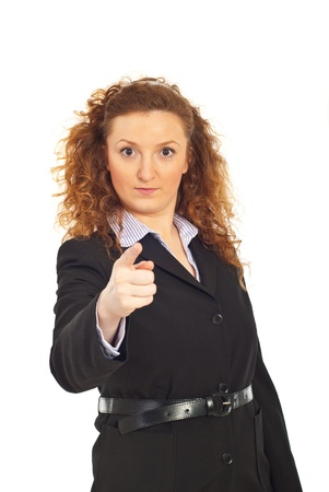 accuser: Serious executive business woman accusing you isolated on white background