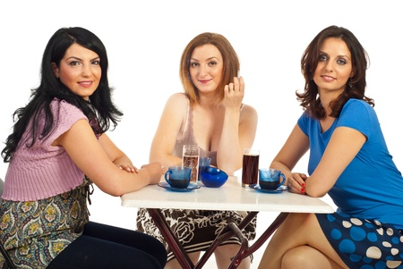 cafe shop: Casual three women having a meeting in a cafe shop against  white background Stock Photo