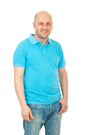 turquise: Happy bald guy wearing blank turquise t-shirt and jeans isolated on white background
